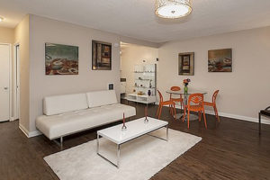 hardwood floor living room with modern futon, white rug, white coffee table, with table and orange chairs