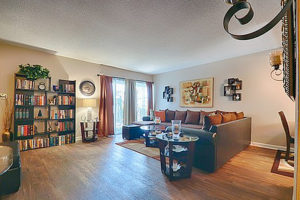 hardwood floor living room with couch, rug, decorations on wall, facing doorway, bookshelves