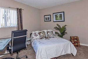 brown carpet, neutral walls, with queen bed