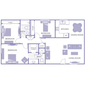 3 bed 2 bath floor plan, kitchen, dining room, living room, 1 walk-in closet, 3 closets