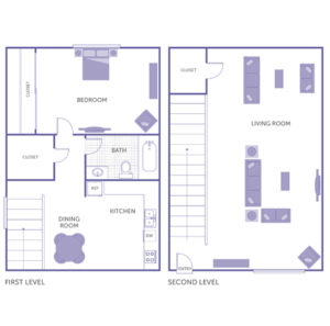 1 bed 1 bath, first level: kitchen, dining room, walk-in closet, bedroom. second level: living room, walk in closet, 1 additional closet