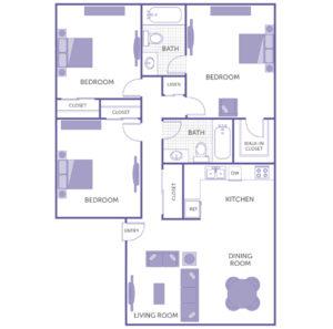 3 bed 2 bath floor plan, kitchen, dining room, living room, 1 walk-in closet, 3 closets, 1 linen closet