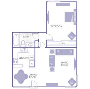 1 bed 1 bath floor plan, kitchen, dining room, living room, 1 closet