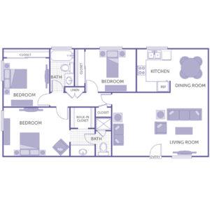 3 bed 2 bath floor plan, kitchen, dining room, living room, 1 walk-in closet, 1 linen closet, 3 closets